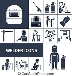 Welder Icons Black Set - Welder decorative icons black set...