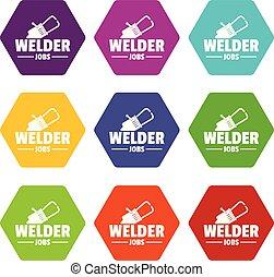 Welder icons set 9 vector
