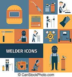Welder Icons Set - Welder and blacksmith laborer decorative...