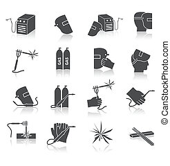 Welder Icons Set - Welder industry construction work repair...