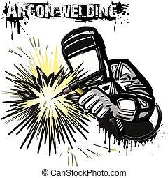 Welder in a mask performing argon welding of the metal