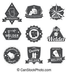Welder labels set - Welder industry construction work repair...