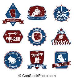 Welder labels set - Welder industry worker instrument...