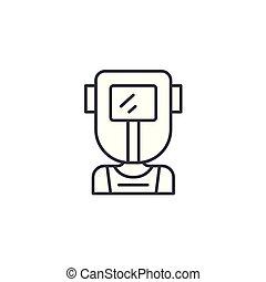 Welder linear icon concept. Welder line vector sign, symbol, illustration.