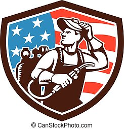 Welder Looking Side USA Flag Crest Retro