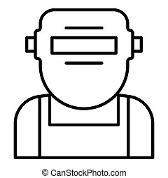 Welder mask face icon, outline style