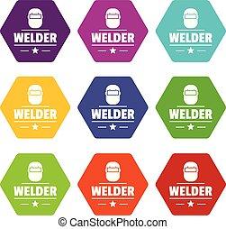 Welder mask icons set 9 vector