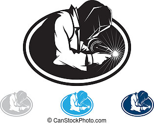 Welder - Silhouette of a working welding with a torch
