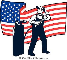 Welder Standing Visor Up USA Flag Wavy Retro