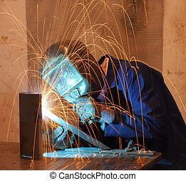 Welder - Factory welder doing his hard job