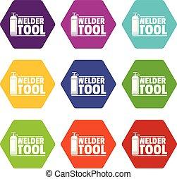 Welder tool icons set 9 vector