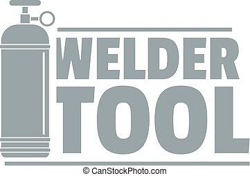 Welder tool logo, simple gray style