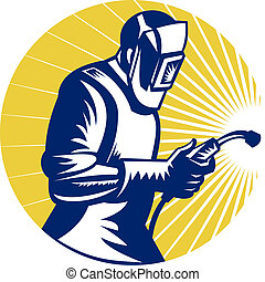 retro style illustration of a welder at work with torch viewed from side set inside circle
