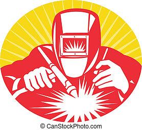 welder welding holding up equipment - illustration of a...