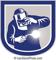 Welder Welding Torch Front Shield Retro - Illustration of...