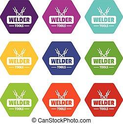 Welder work icons set 9 vector