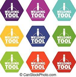 Welder worker icons set 9 vector