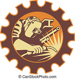 Illustration of a welder fabricator worker welding torch with i-beam pipe and bar set inside gear done in retro style.