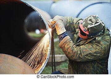 Welder worker with flame torch cutter - Construction Welder ...