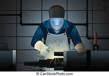 Welder working on a machine - A vector illustration of...
