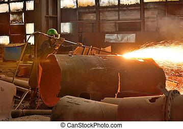 Welder working on a pipeline
