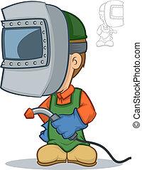 Welding Cartoon - Illustration of a welder character holding...