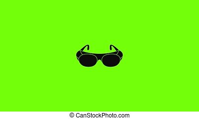 Welding glasses icon animation best simple object on green screen background