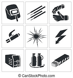 Welding icon collection - Welding icon set on a white...