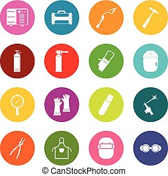 Welding icons many colors set isolated on white for digital...