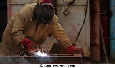 Welding in a industrial factory