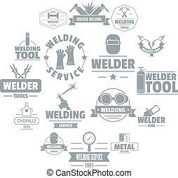 Welding logo icons set, simple style - Welding logo icons...