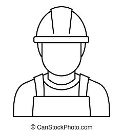 Welding man icon, outline style
