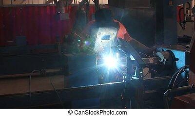 welding manual worker in workshop