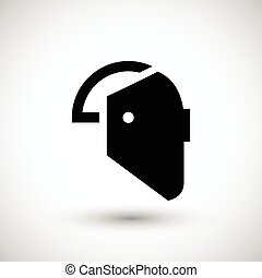 Welding mask icon isolated on grey. Vector illustration