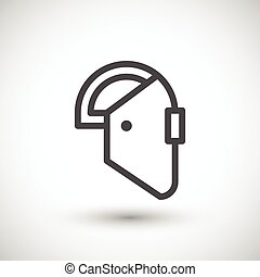 Welding mask line icon isolated on grey. Vector illustration