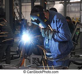 welding operator 2 - welding operator holding his mask