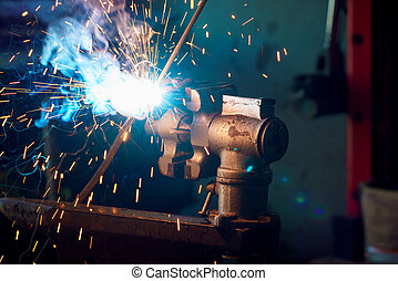 Welding process for metal close up