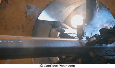 Welding robots movement in a wild for the creation of...