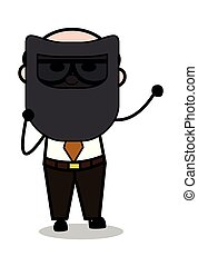 Welding Shield - Retro Cartoon Father Old Boss Vector Illustration