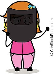 Welding Shield - Retro Cartoon Female Housewife Mom Vector Illustration