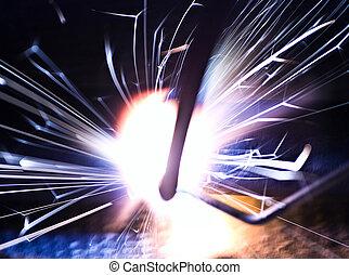 welding - sparks of welding
