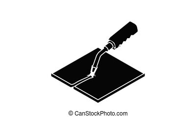 Welding torch icon animation isometric black object on white background