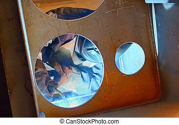 welding with mig-mag method inside of shipyard