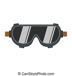 Welding worker glasses icon, flat style