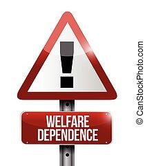 welfare dependency road sign illustration design over a...