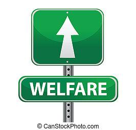 welfare green sign illustration design over white