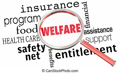 Welfare Magnifying Glass Government Entitlements Words 3d Render Illustration