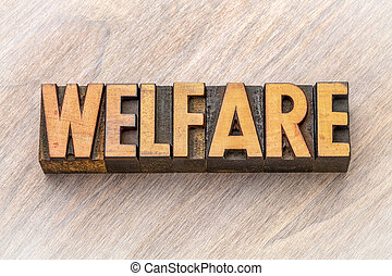 welfare - word abstract in wood type