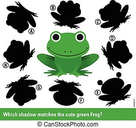welke, schaduw, stellen, de, groene, spotprent, kikker