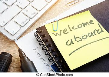 welkom, aan boord, geschreven, op, een, memorandum, stick.